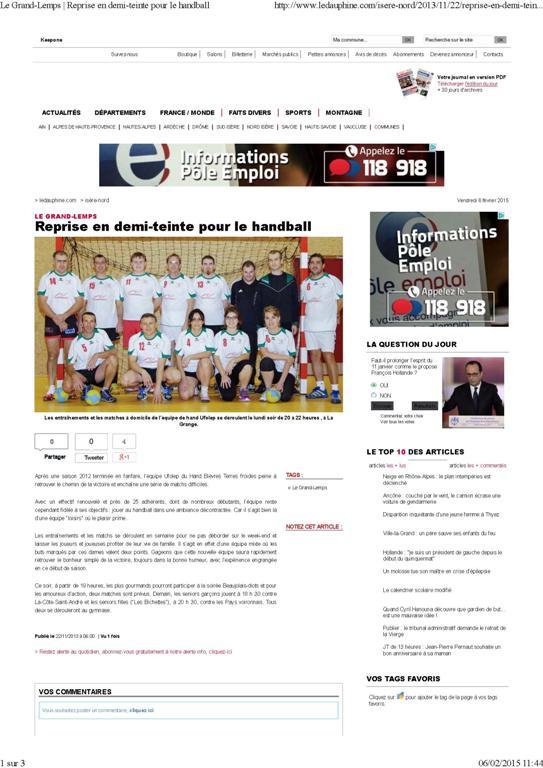 Le Grand-Lemps _ Reprise en demi-teinte pour le handball_Page_1