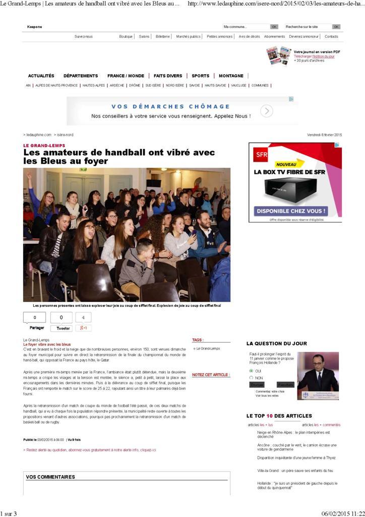 Le Grand-Lemps _ Les amateurs de handball ont vibré avec les Bleus au foyer_Page_1