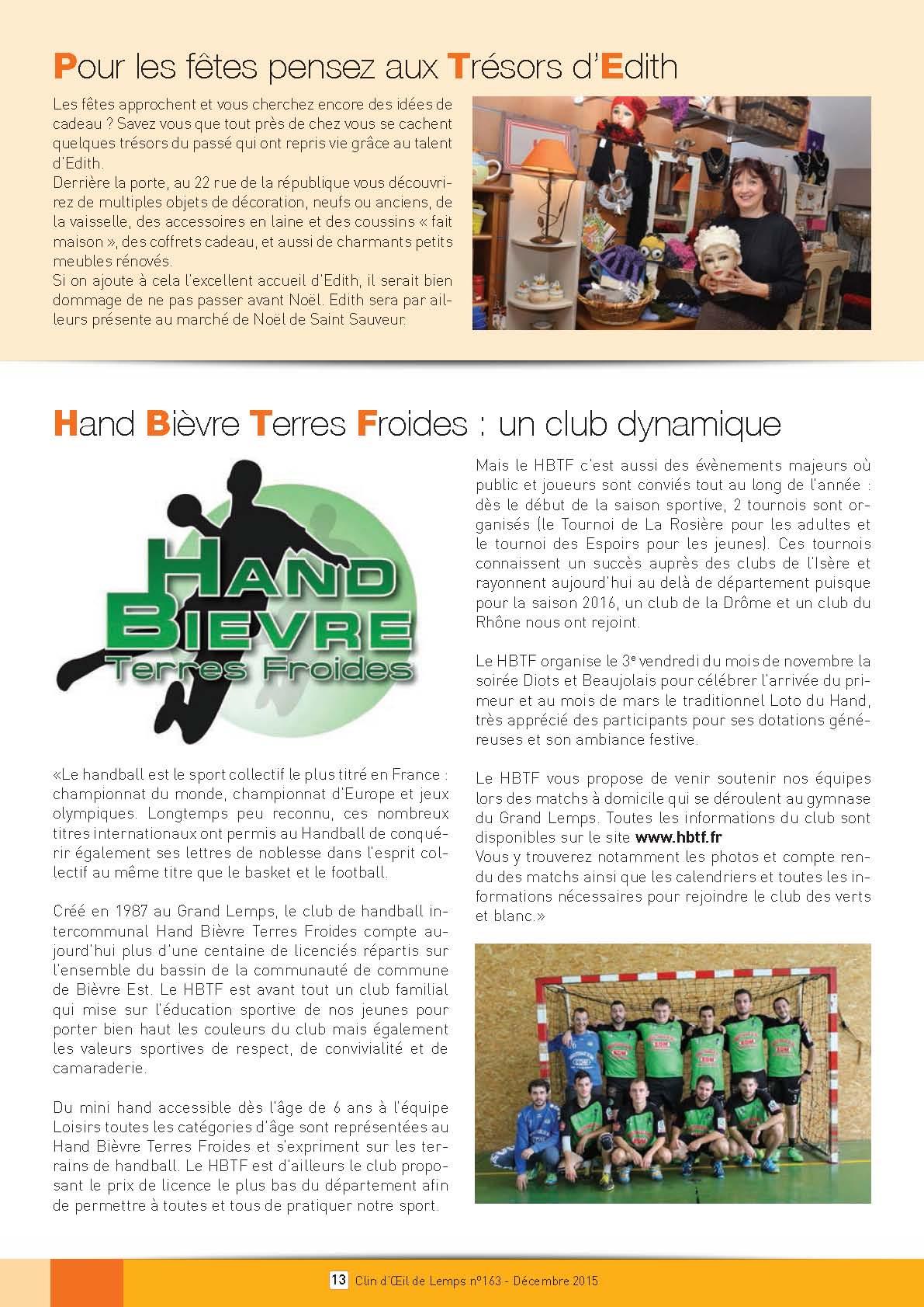 Le HBTF dans le clin d'oeil de Lemps - Hand Bievre Terres Froides - Club de Handball en Isère