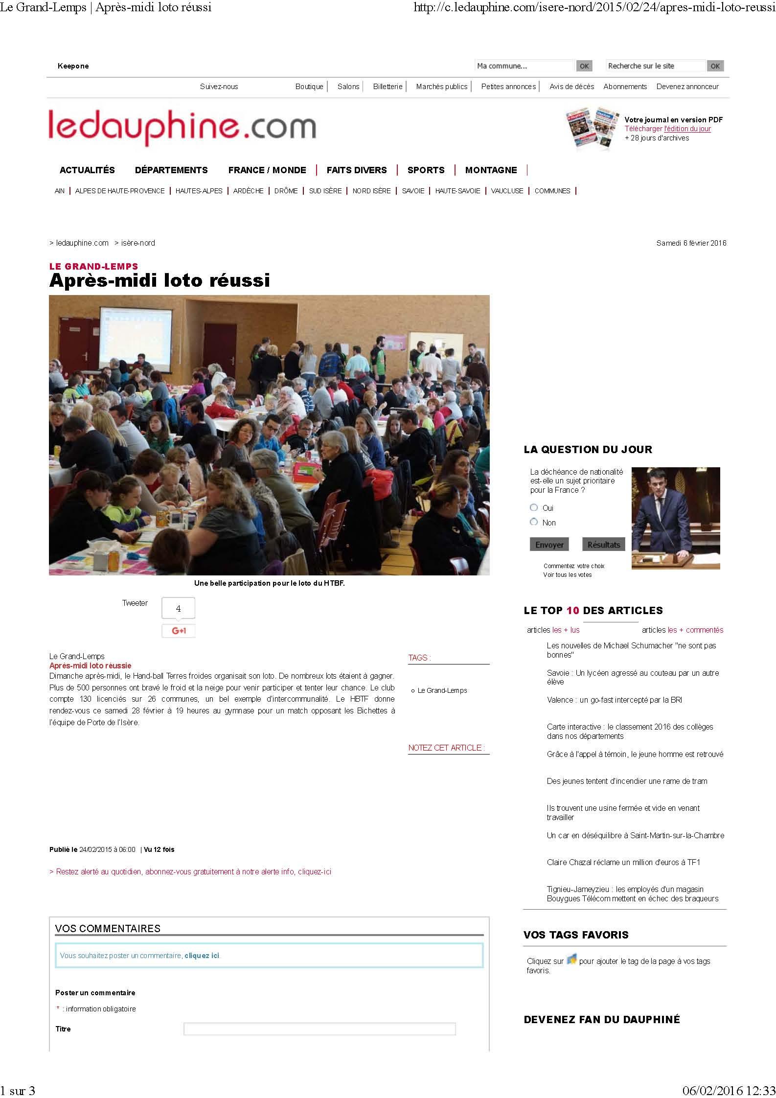 l'édition 2015 du Loto du Hand Bièvre Terres Froides - Hand Bievre Terres Froides - Club de Handball en Isère