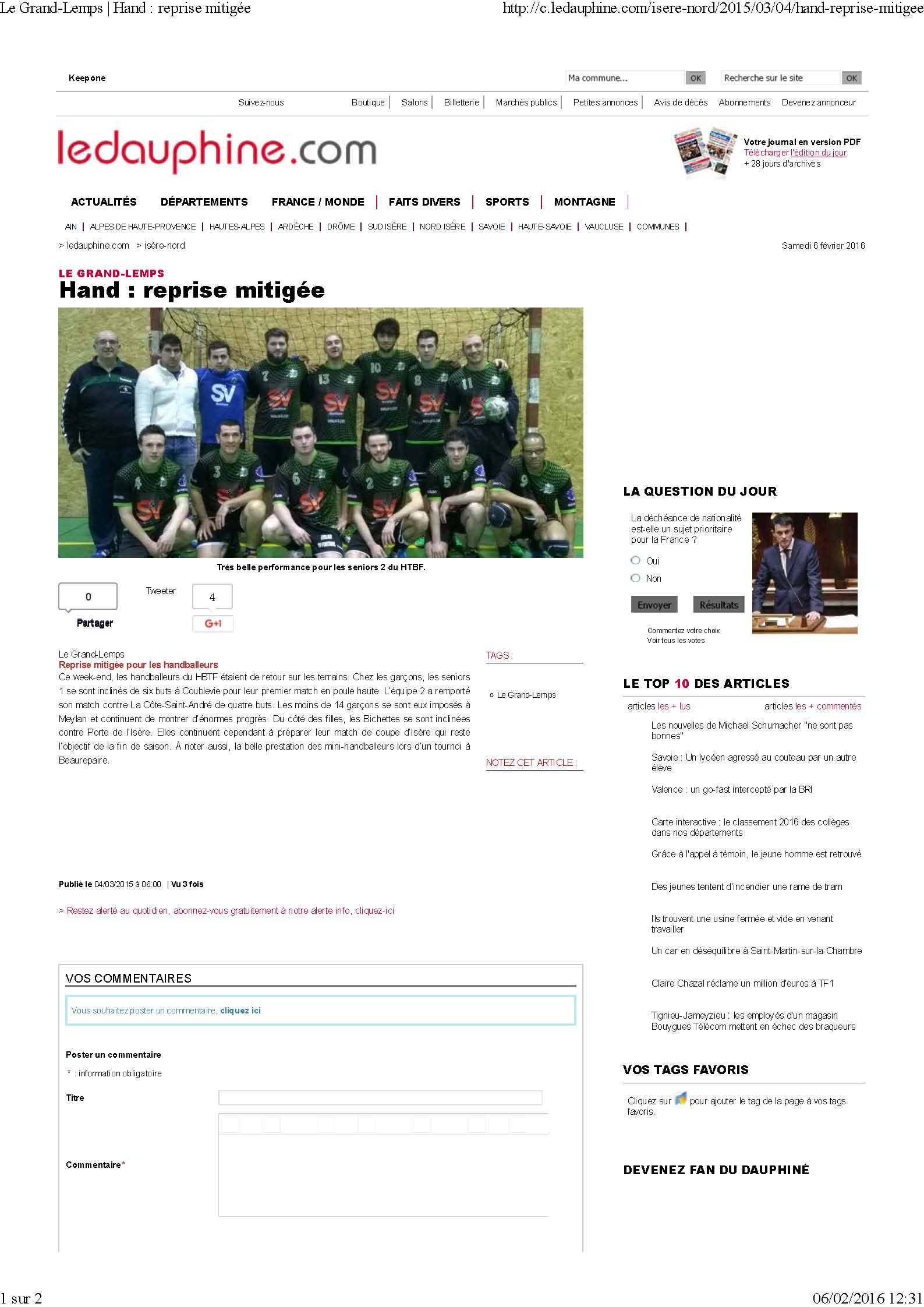 Reprise mitigée pour les handballeurs : article du Dauphiné Libéré - Hand Bievre Terres Froides - Club de Handball en Isère