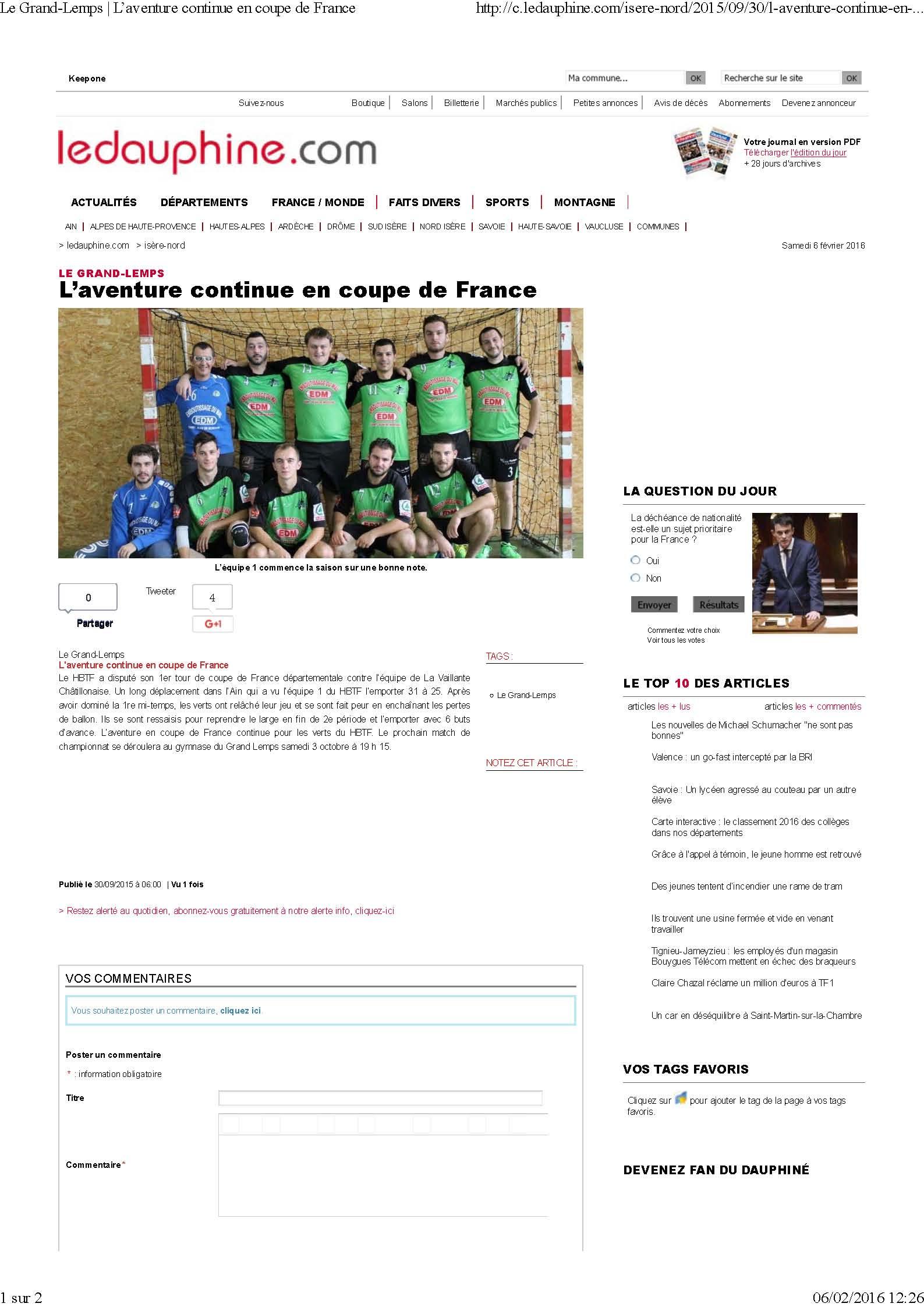 L'aventure continue en coupe de France (article du Dauphiné Libéré) - Hand Bievre Terres Froides - Club de Handball en Isère