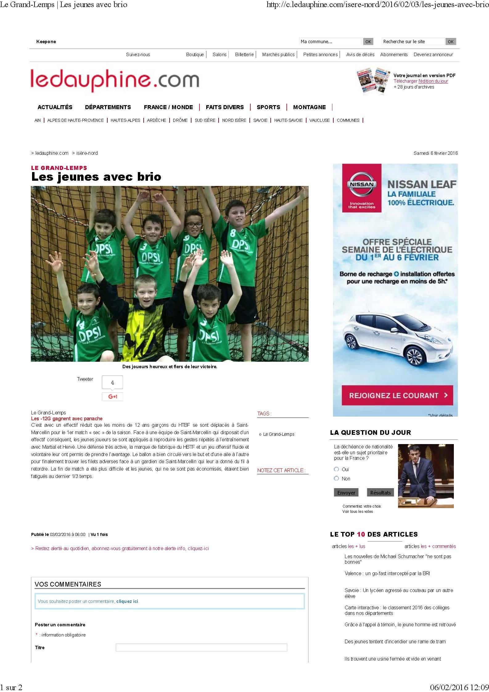 Les -12 gagnent avec Brio (article du Dauphiné Libéré) - Hand Bievre Terres Froides - Club de Handball en Isère