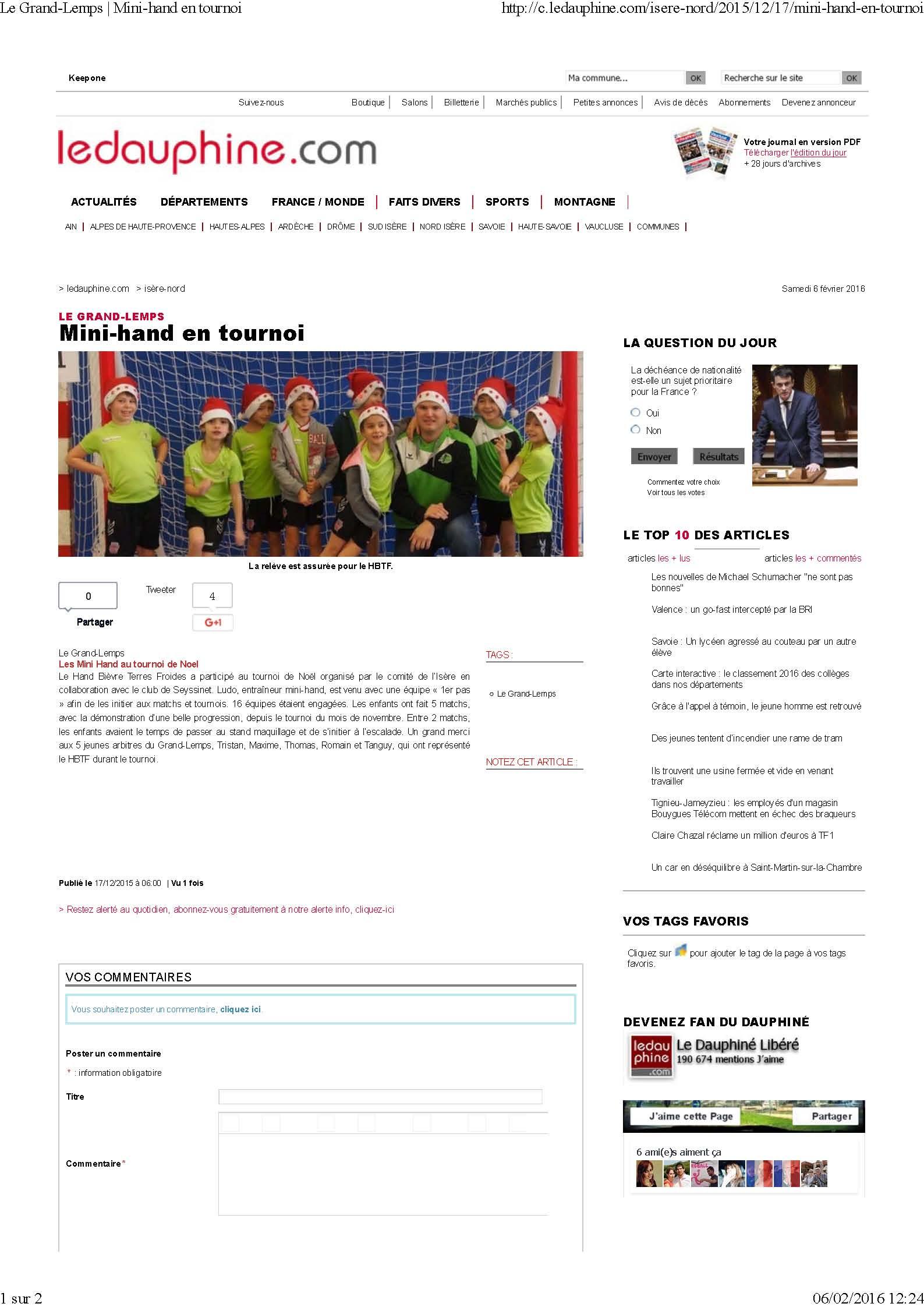 Les mini-hand au tournoi de noël (article du Dauphiné Libéré) - Hand Bievre Terres Froides - Club de Handball en Isère