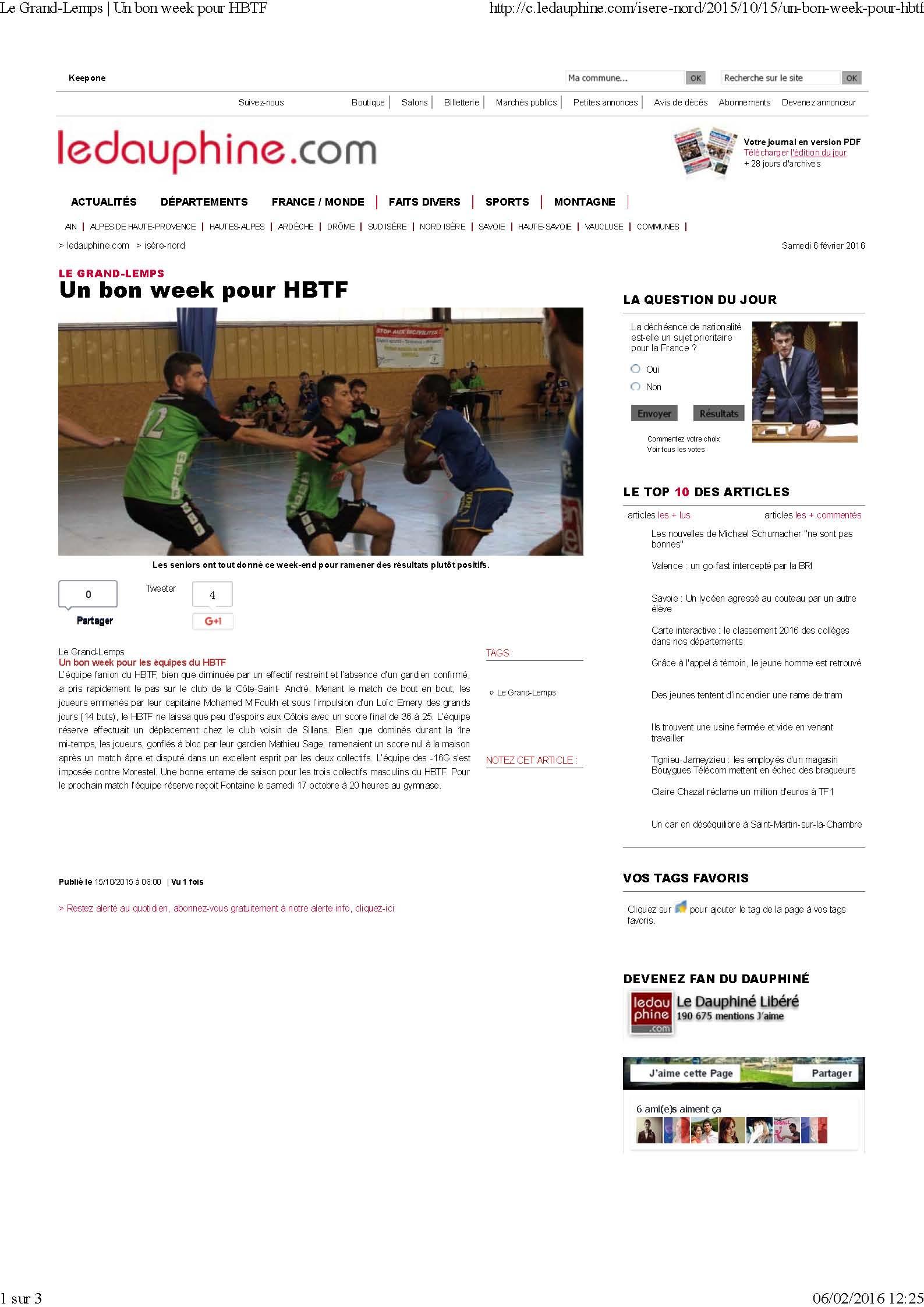 Un bon week end pour le HBTF (article du Dauphiné Libéré) - Hand Bievre Terres Froides - Club de Handball en Isère