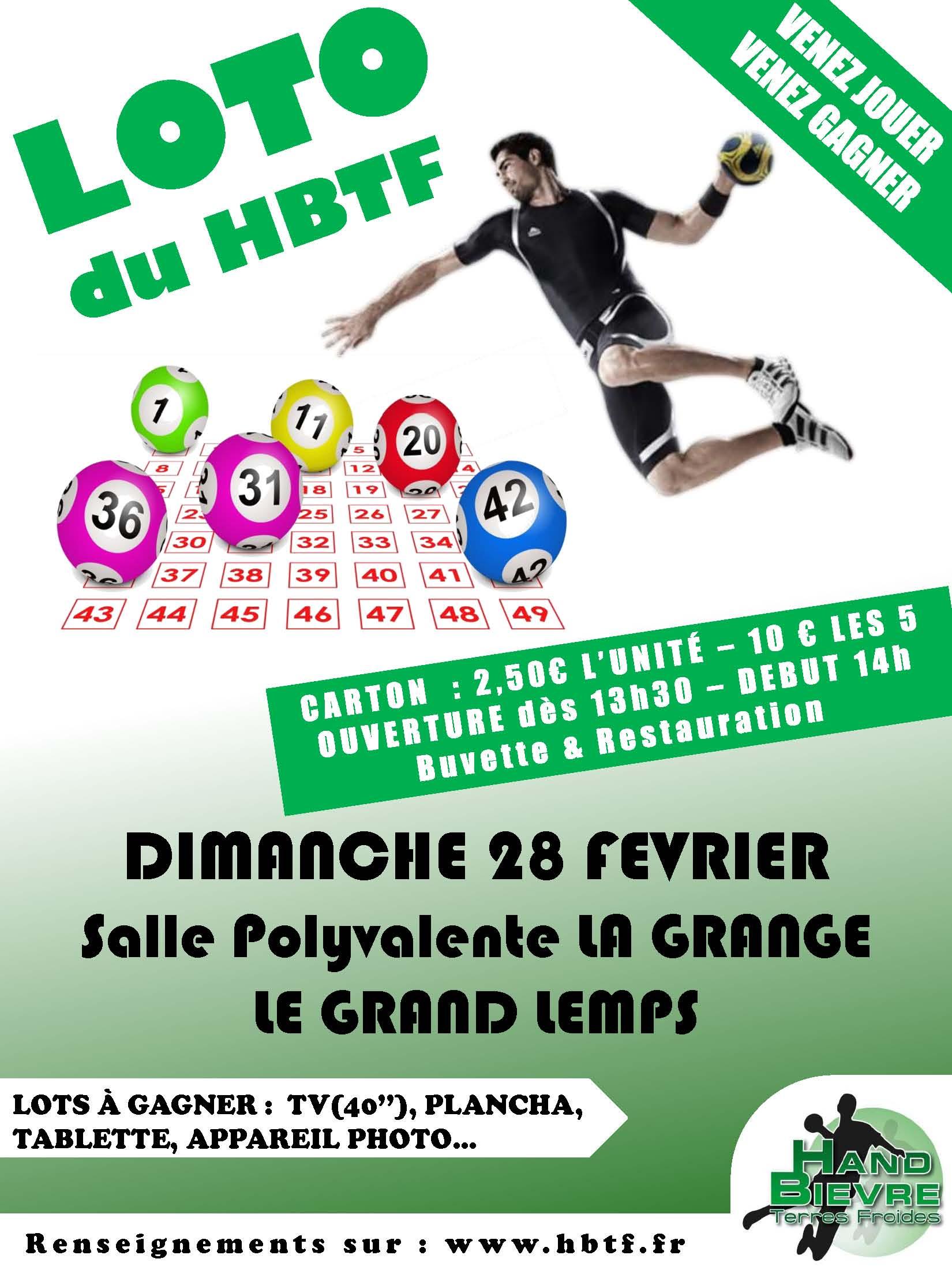 Le Loto du HBTF : venez nombreux jouer...et gagner ! - Hand Bievre Terres Froides - Club de Handball en Isère