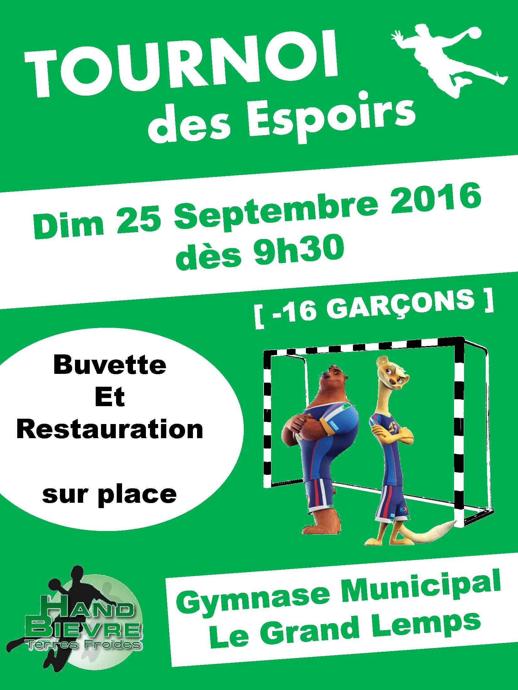2ème édition du tournoi des Espoirs - Hand Bievre Terres Froides - Club de Handball en Isère