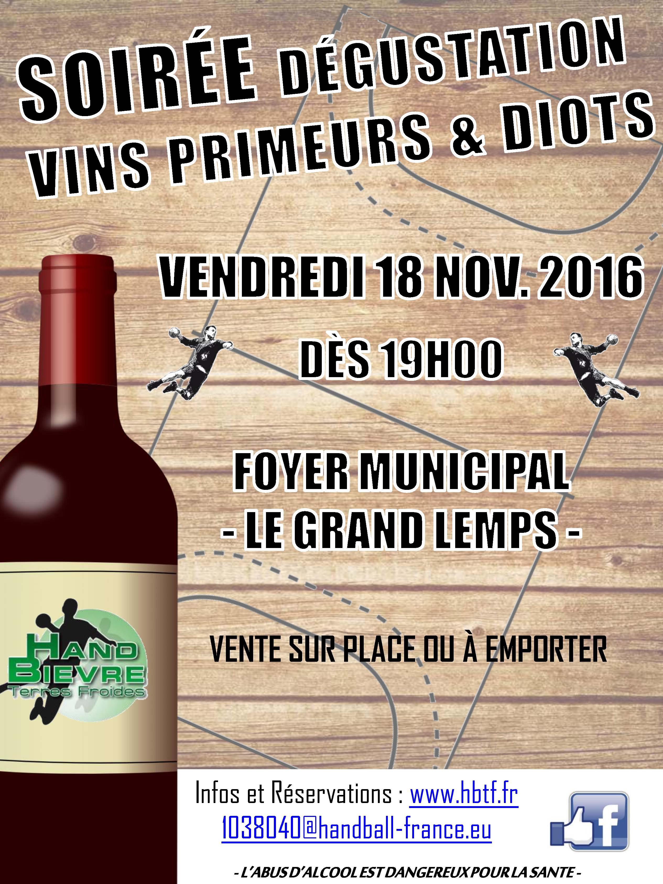 La soirée Primeurs et Diots 2016 - Hand Bievre Terres Froides - Club de Handball en Isère
