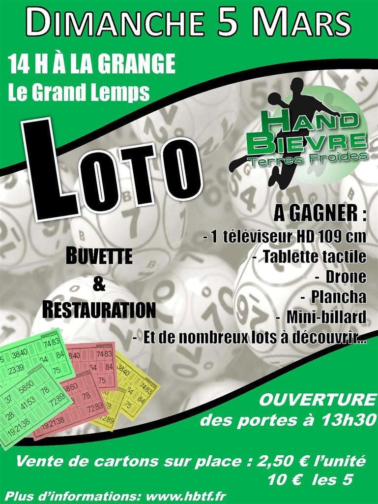 Loto du HBTF le dimanche 5 mars - Hand Bievre Terres Froides - Club de Handball en Isère