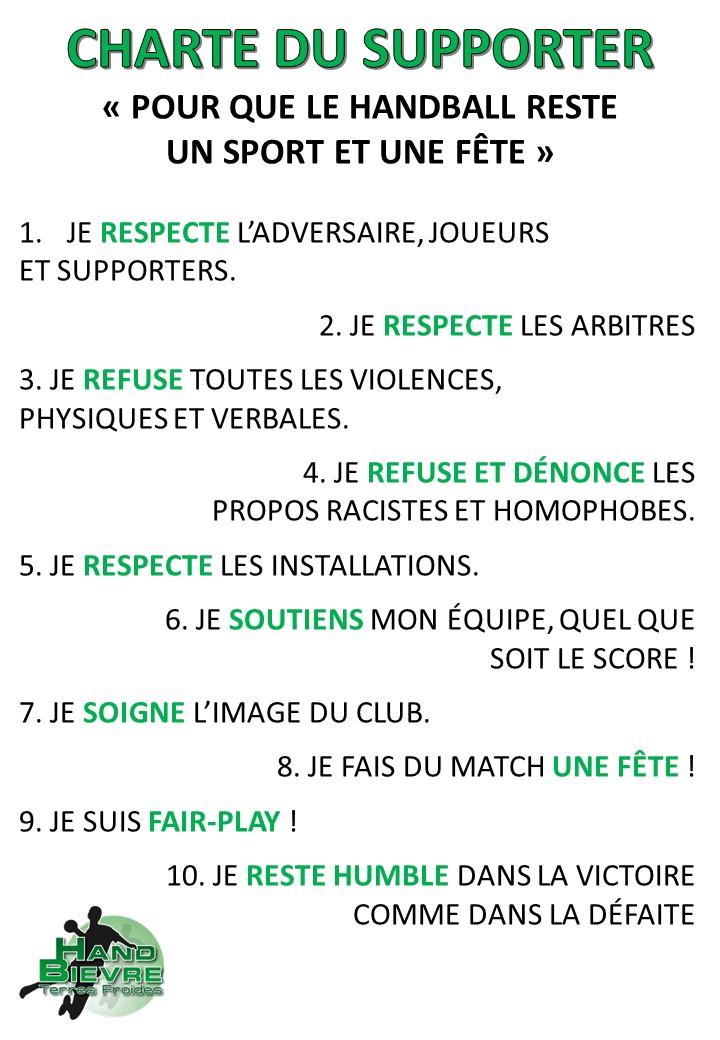 Chartes du club - Hand Bievre Terres Froides - Club de Handball en Isère