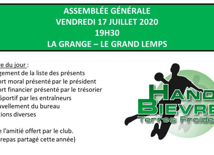 Assemblée Générale : Vendredi 17 Juillet - Hand Bievre Terres Froides - Club de Handball en Isère