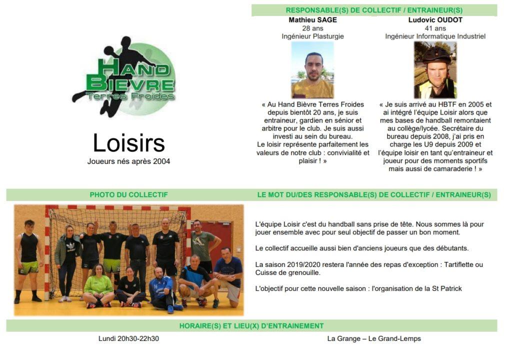 Loisir FFHB - Hand Bievre Terres Froides - Club de Handball en Isère