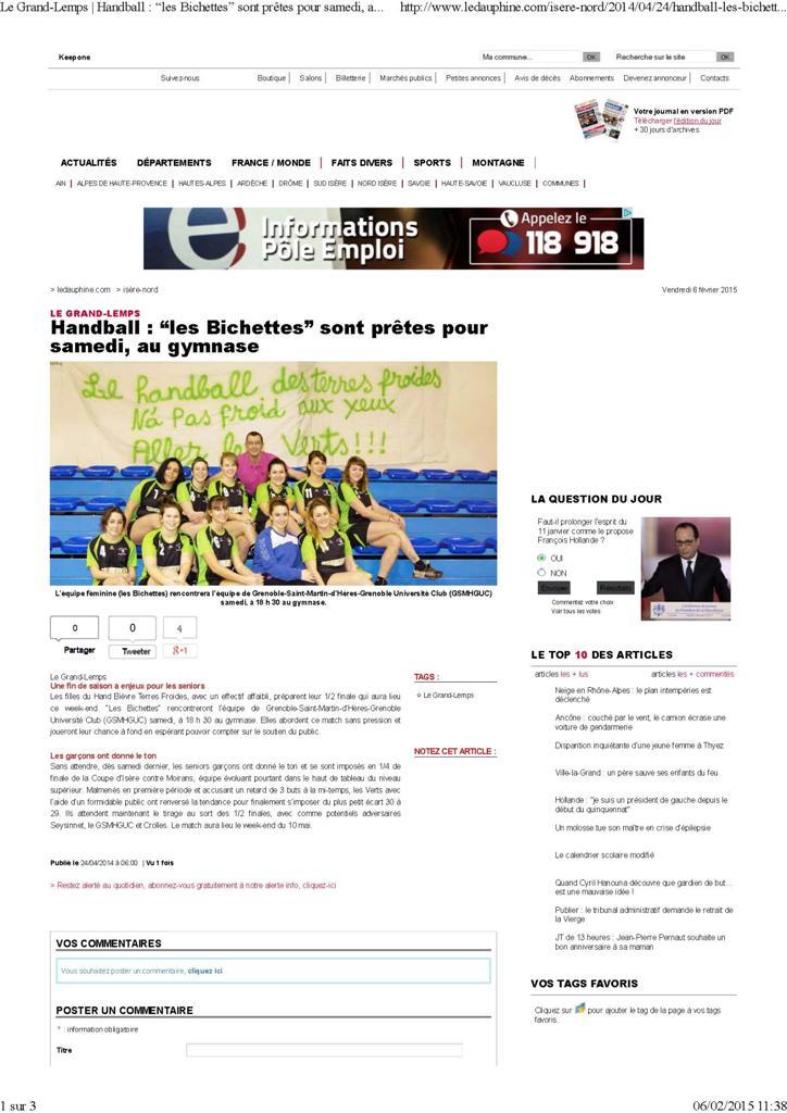 """Les """"Bichettes"""" sont prêtes pour samedi au gymnase - Hand Bievre Terres Froides - Club de Handball en Isère"""