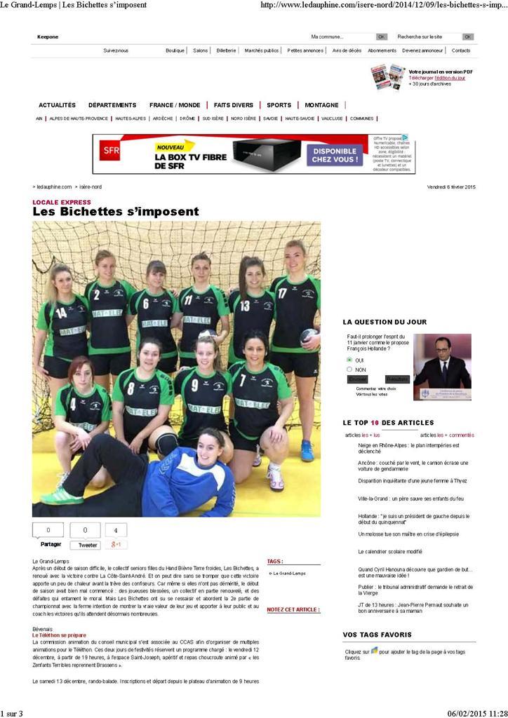 Les Bichettes s'imposent - Hand Bievre Terres Froides - Club de Handball en Isère
