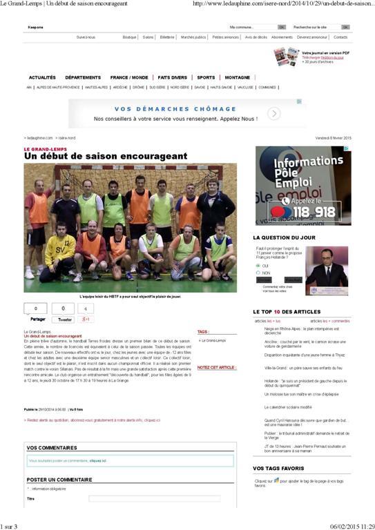 Un début de saison encourageant - Hand Bievre Terres Froides - Club de Handball en Isère