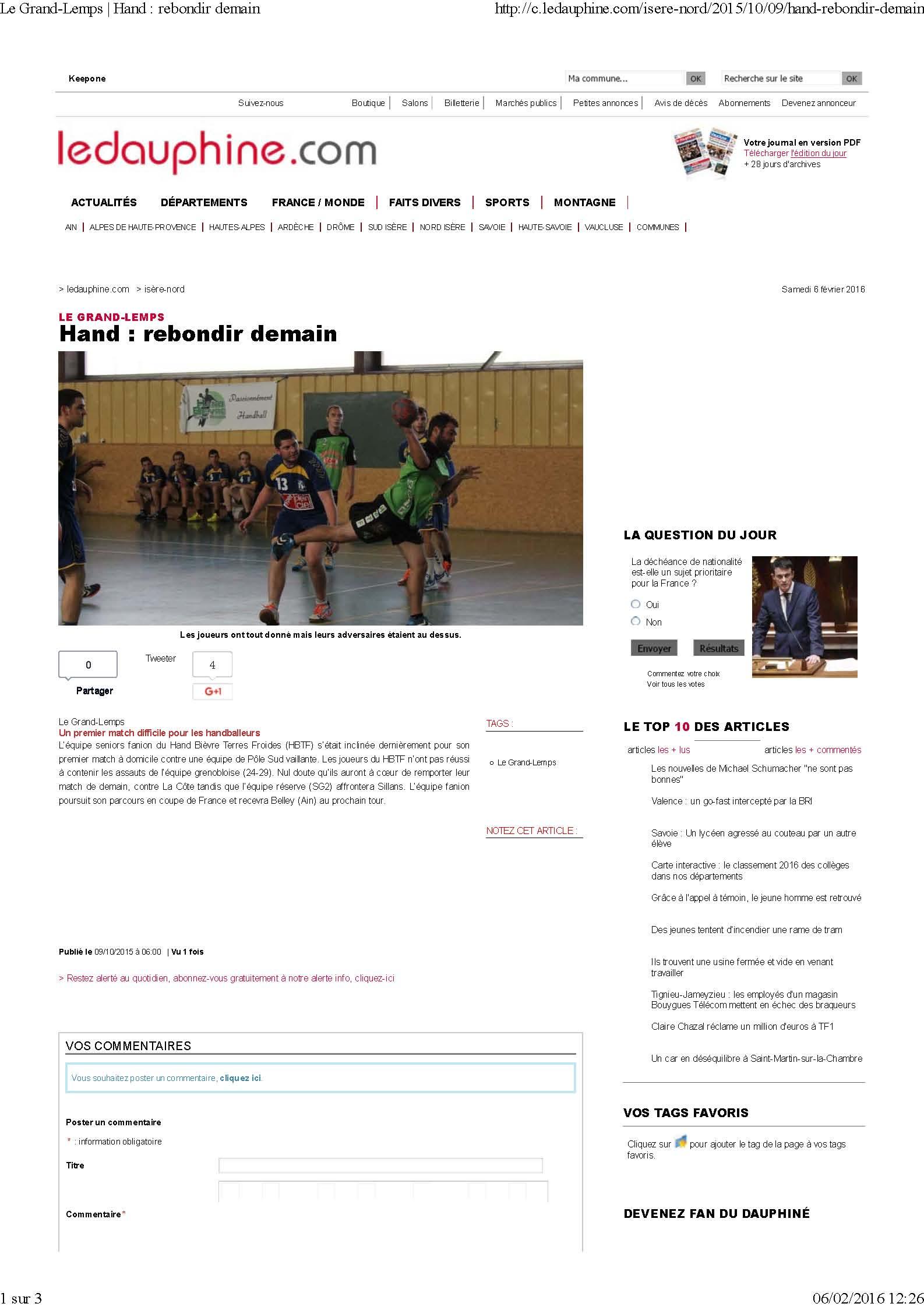 rebondir demain (article du Dauphiné Libéré) - Hand Bievre Terres Froides - Club de Handball en Isère