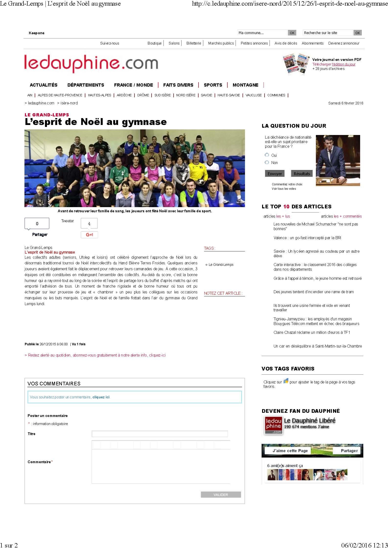L'esprit de Noel au HBTF (article du Dauphiné Libéré) - Hand Bievre Terres Froides - Club de Handball en Isère