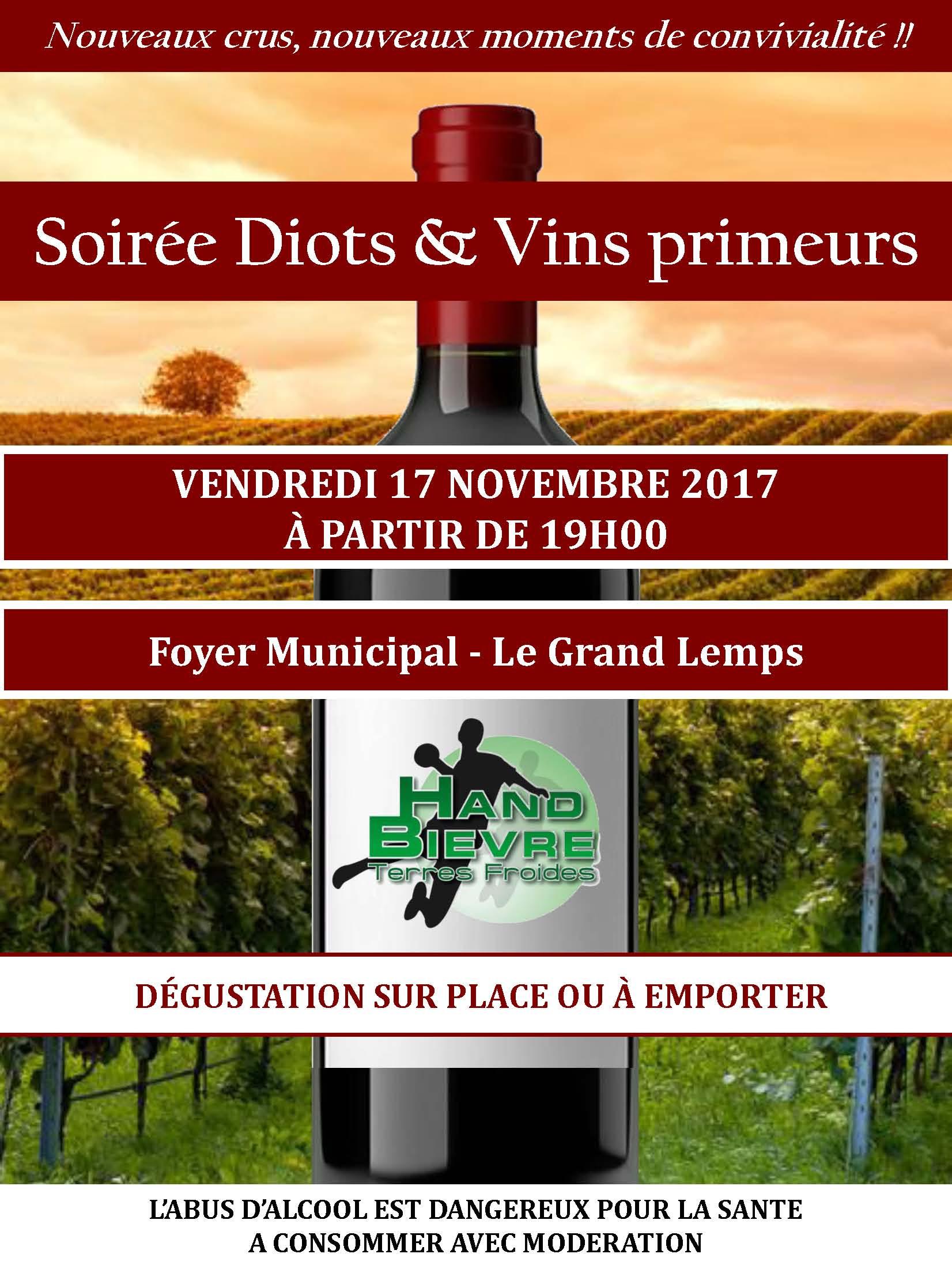 Soirée Diots et vins Primeurs - Hand Bievre Terres Froides - Club de Handball en Isère